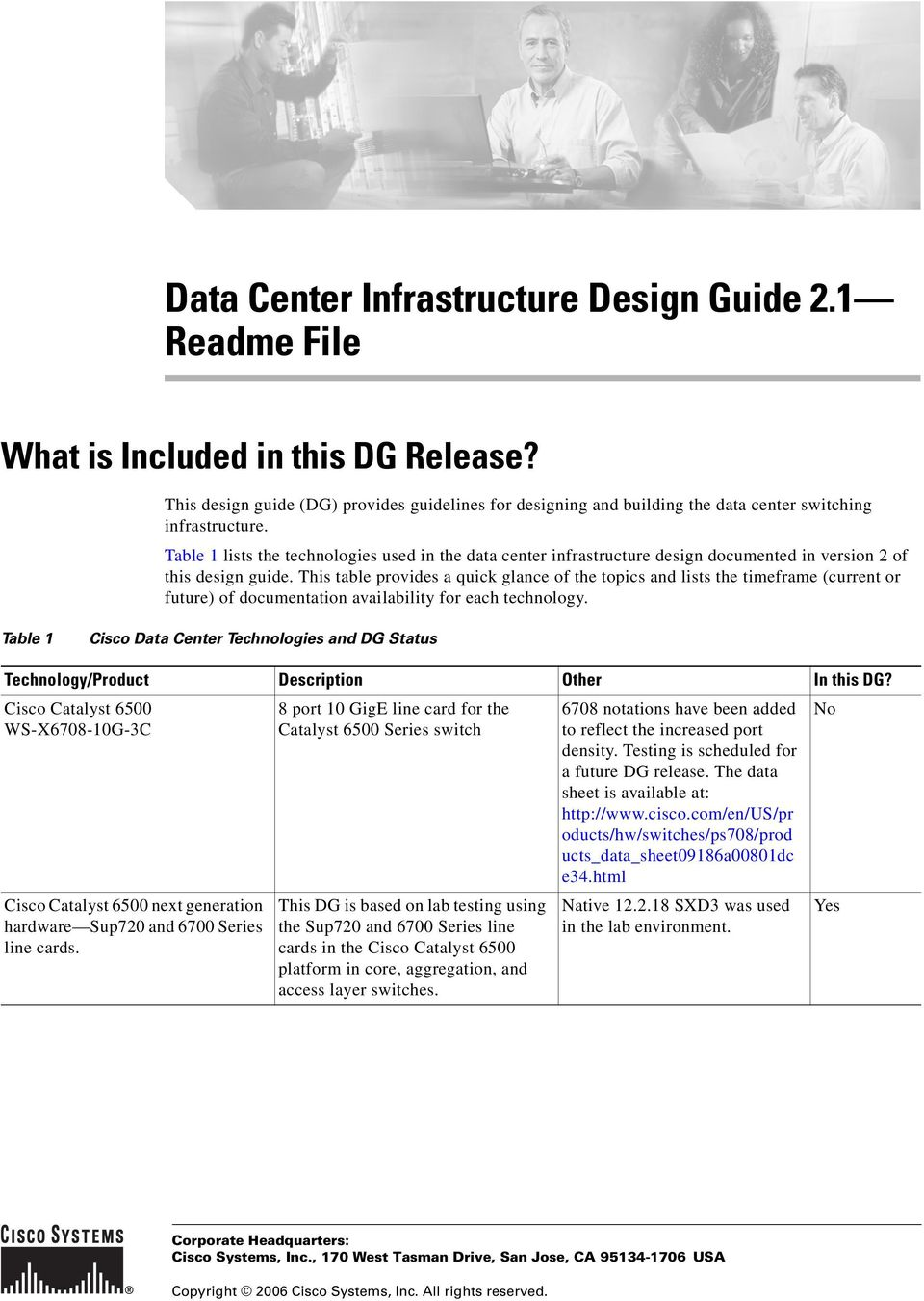 Table 1 lists the technologies used in the data center infrastructure design documented in version 2 of this design guide.