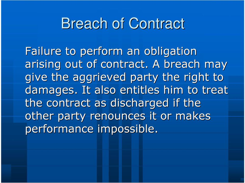 A breach may give the aggrieved party the right to damages.