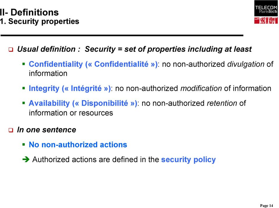 modification of information Availability («Disponibilité»): no non-authorized retention of information or