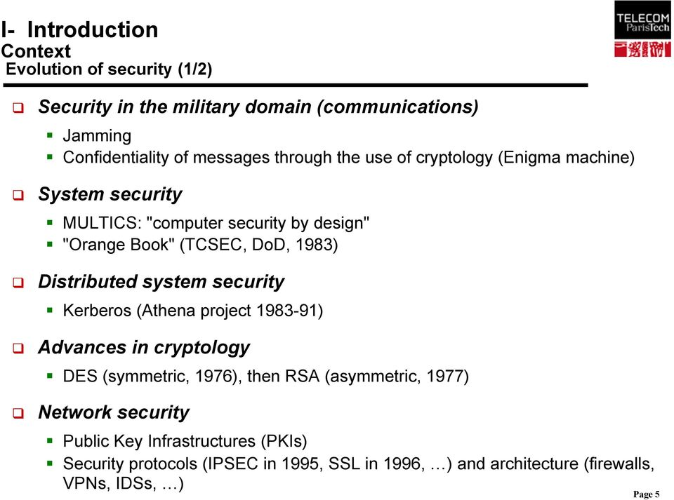 1983) Distributed system security Kerberos (Athena project 1983-91) Advances in cryptology DES (symmetric, 1976), then RSA (asymmetric, 1977)