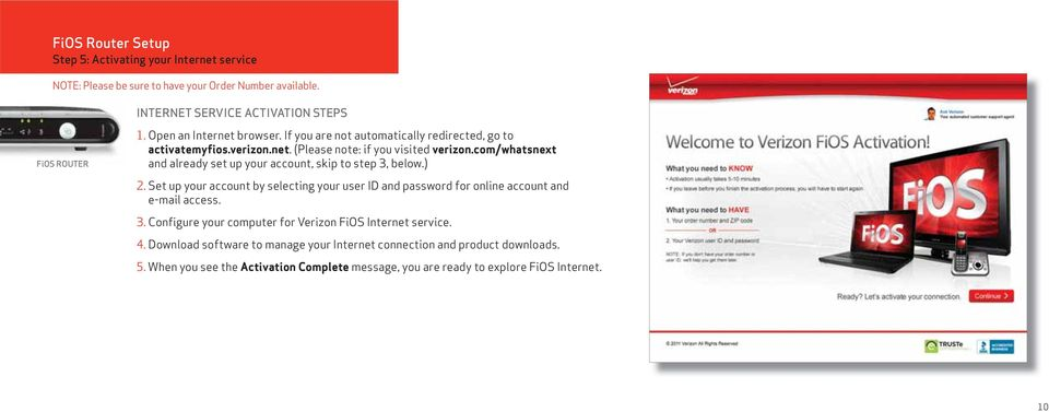 com/whatsnext and already set up your account, skip to step 3, below.) 2. Set up your account by selecting your user ID and password for online account and e-mail access. 3. Configure your computer for Verizon FiOS Internet service.