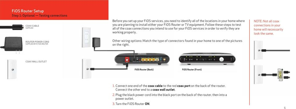 Follow these steps to test all of the coax connections you intend to use for your FiOS services in order to verify they are working properly.
