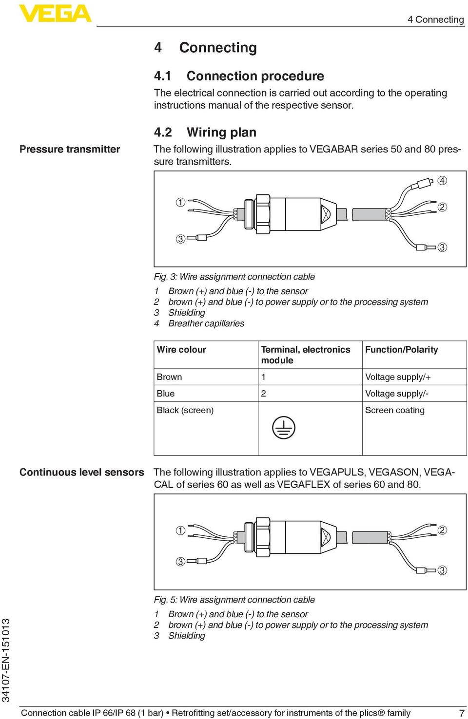 : Wire assignment connection cable 1 Brown (+) and blue (-) to the sensor 2 brown (+) and blue (-) to power supply or to the processing system Shielding 4 Breather capillaries Wire colour Terminal,