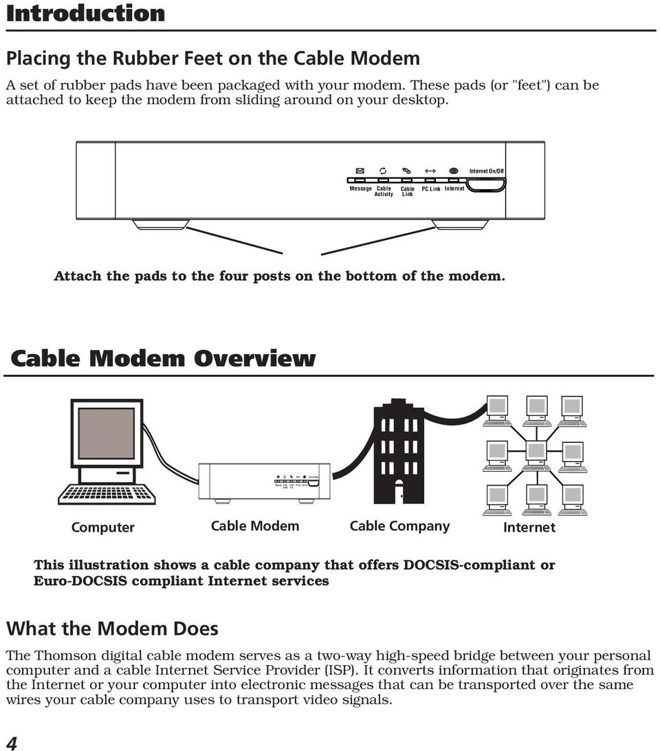Cable Modem Overview Computer Cable Modem Cable Company Internet This illustration shows a cable company that offers DOCSIS-compliant or Euro-DOCSIS compliant Internet services What the Modem Does