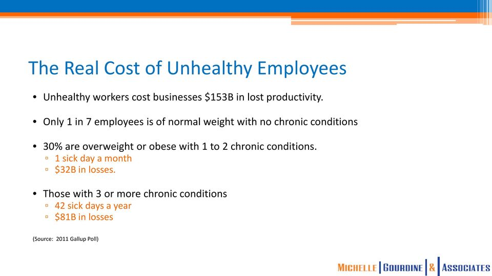 Only 1 in 7 employees is of normal weight with no chronic conditions 30% are overweight or