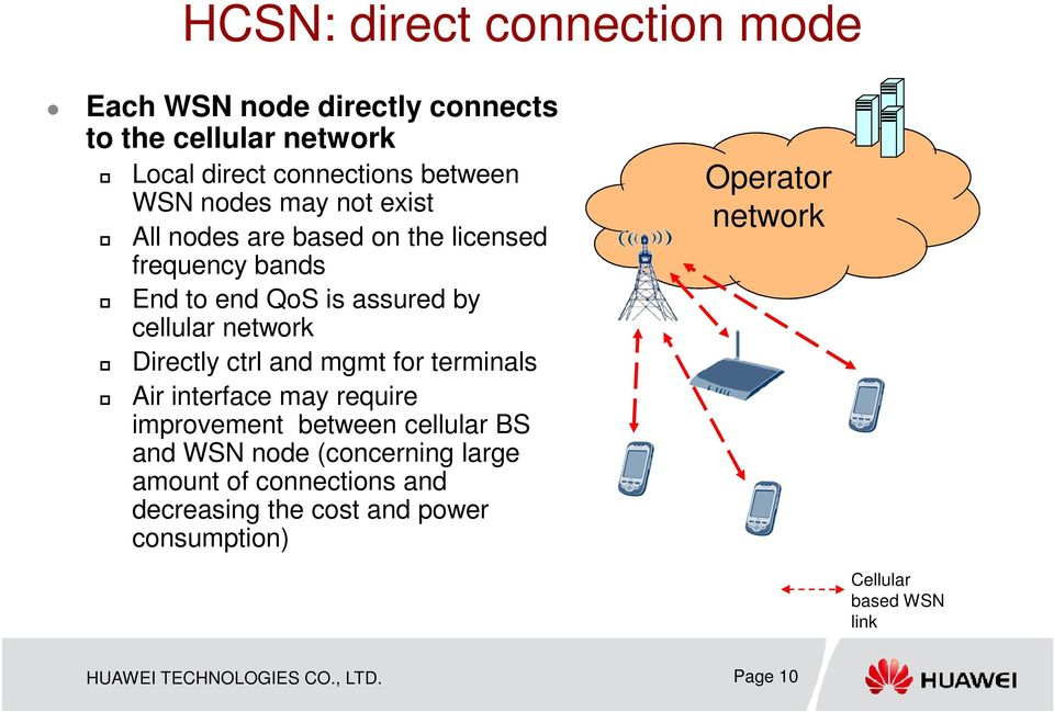and mgmt for terminals Air interface may require improvement between cellular BS and WSN node (concerning large amount of
