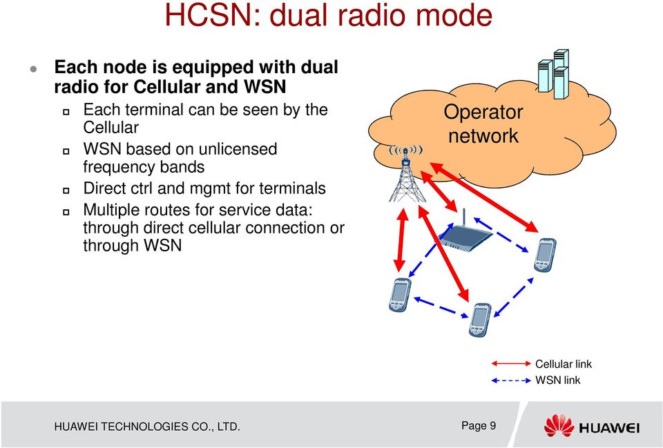 and mgmt for terminals Multiple routes for service data: through direct cellular