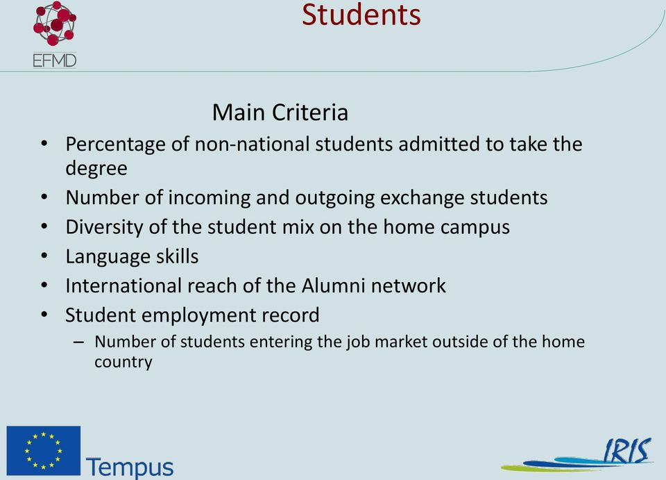mix on the home campus Language skills International reach of the Alumni network