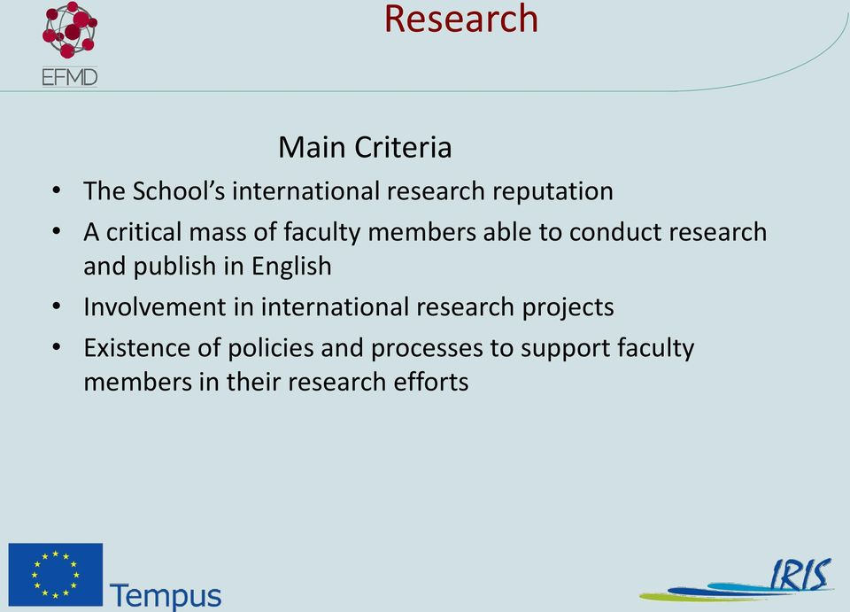 in English Involvement in international research projects Existence of