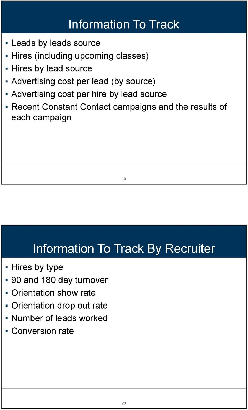 campaigns and the results of each campaign 19 Information To Track By Recruiter Hires by type 90 and