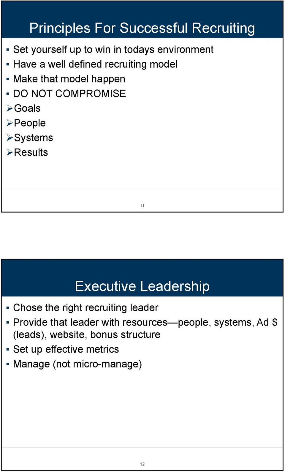 Executive Leadership Chose the right recruiting leader Provide that leader with resources people,