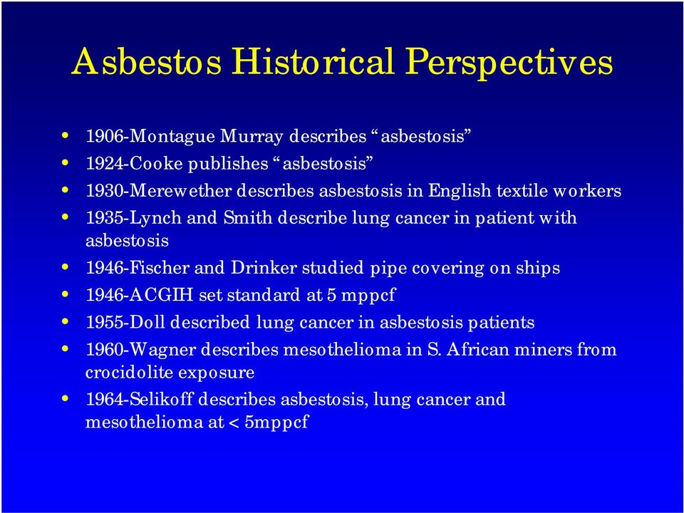 studied pipe covering on ships 1946-ACGIH set standard at 5 mppcf 1955-Doll described lung cancer in asbestosis patients 1960-Wagner
