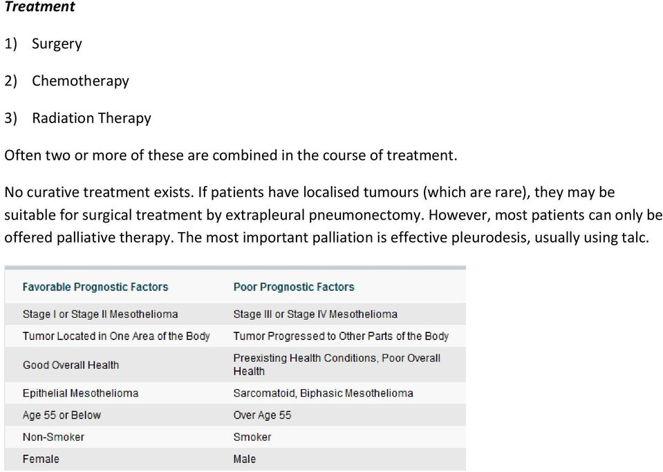 If patients have localised tumours (which are rare), they may be suitable for surgical treatment by