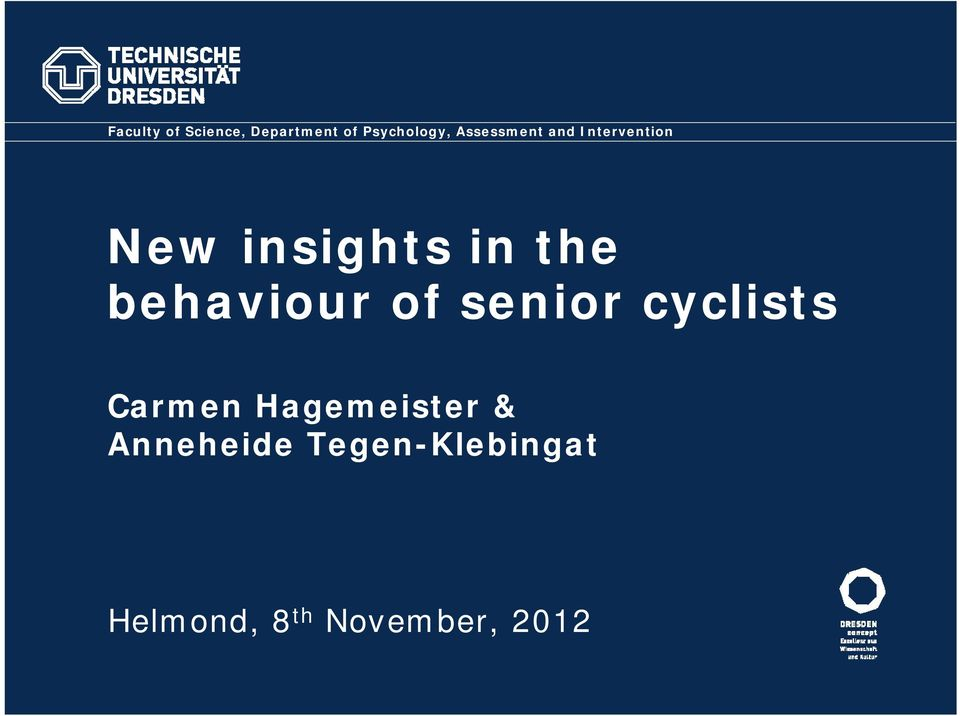 behaviour of senior cyclists Carmen Hagemeister &
