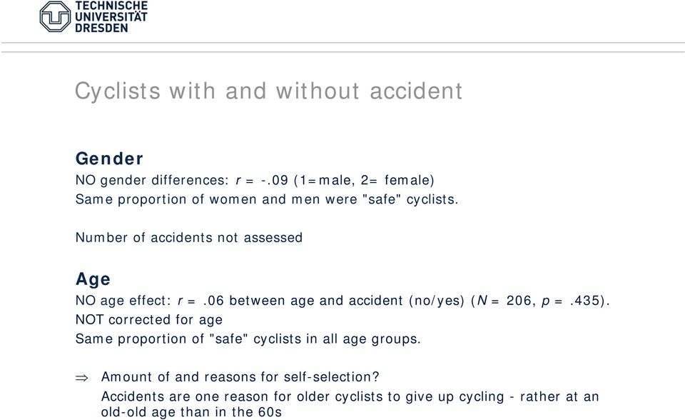 Number of accidents not assessed Age NO age effect: r =.06 between age and accident (no/yes) (N = 206, p =.435).