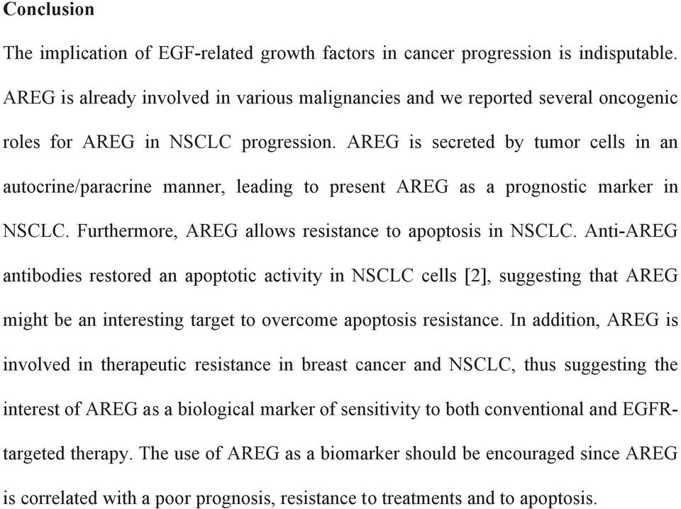 AREG is secreted by tumor cells in an autocrine/paracrine manner, leading to present AREG as a prognostic marker in NSCLC. Furthermore, AREG allows resistance to apoptosis in NSCLC.
