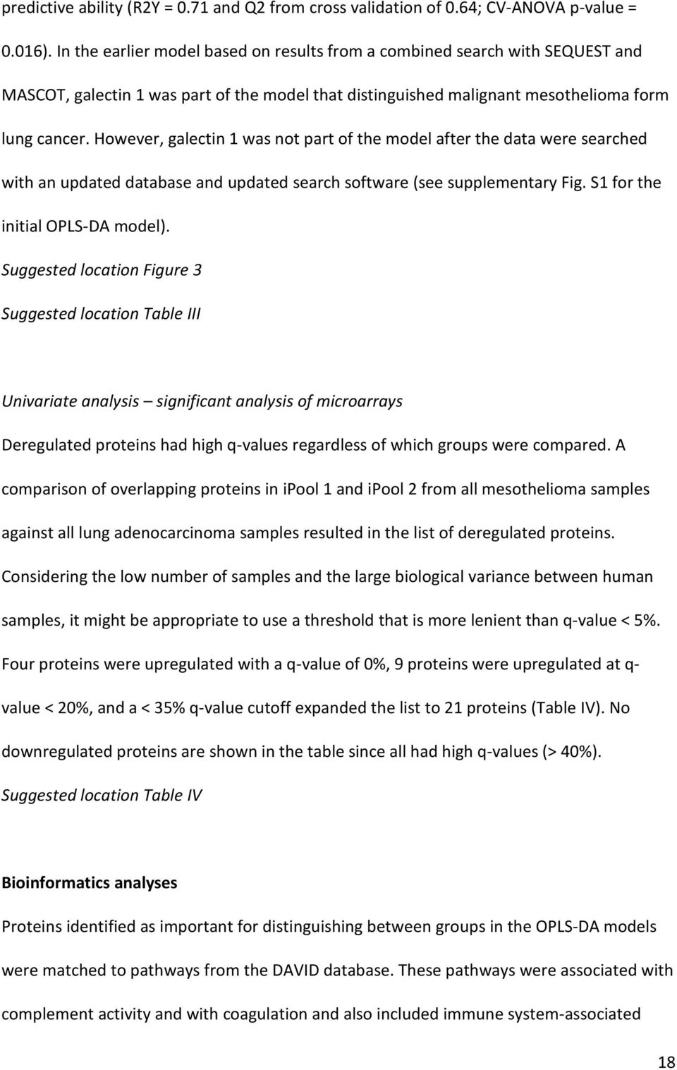 However, galectin 1 was not part of the model after the data were searched with an updated database and updated search software (see supplementary Fig. S1 for the initial OPLS-DA model).