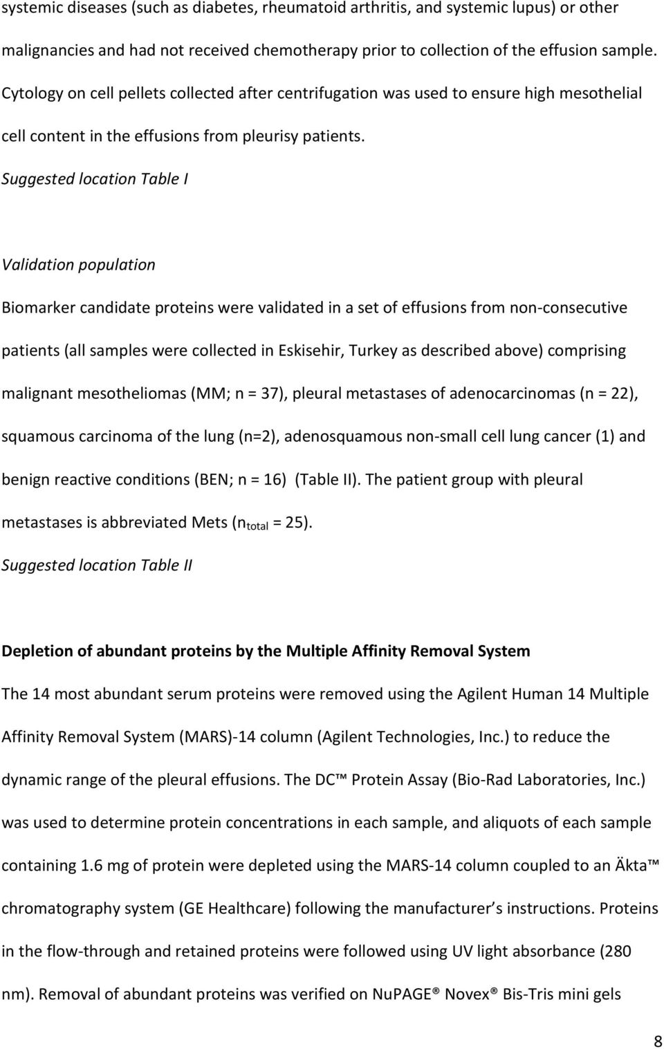 Suggested location Table I Validation population Biomarker candidate proteins were validated in a set of effusions from non-consecutive patients (all samples were collected in Eskisehir, Turkey as