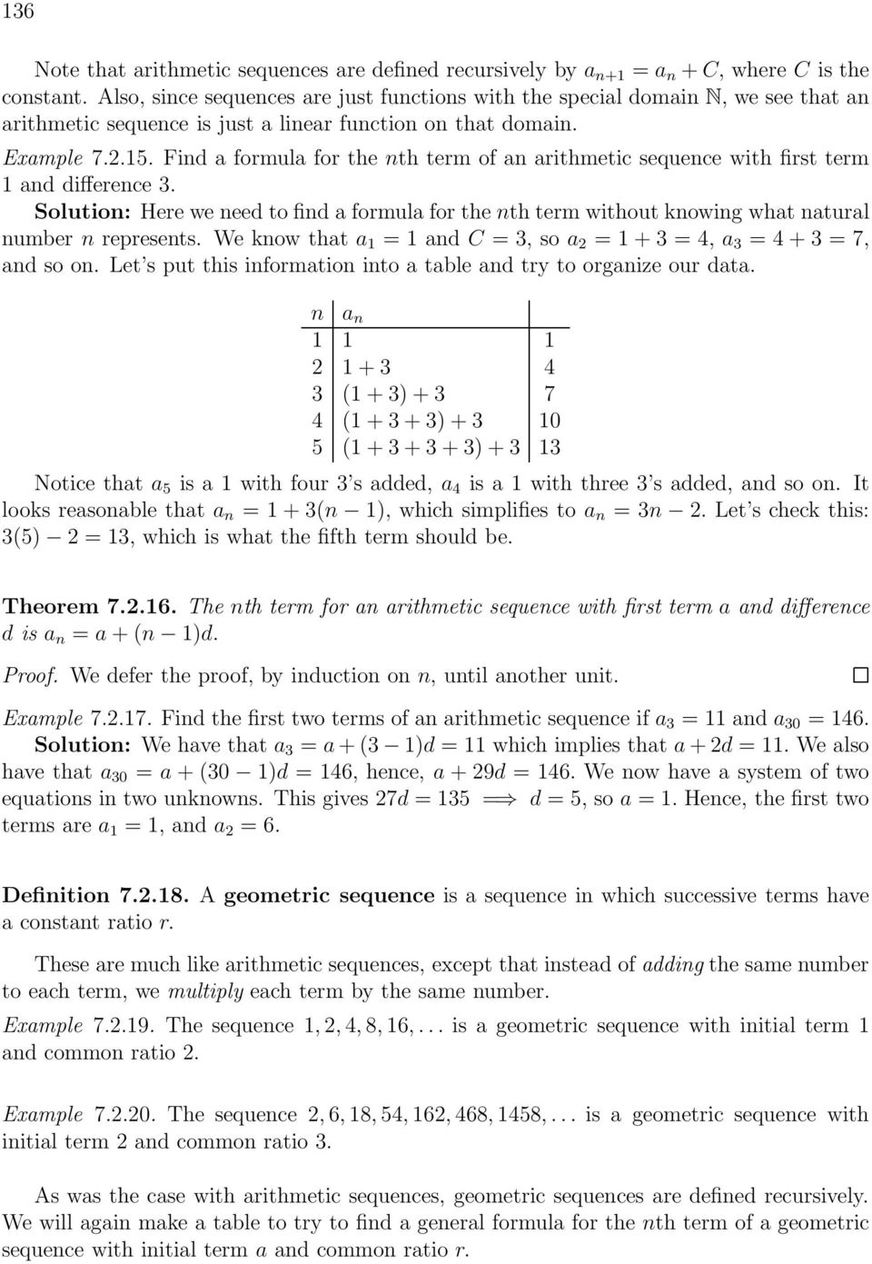 Find a formula for the nth term of an arithmetic sequence with first term 1 and difference 3.