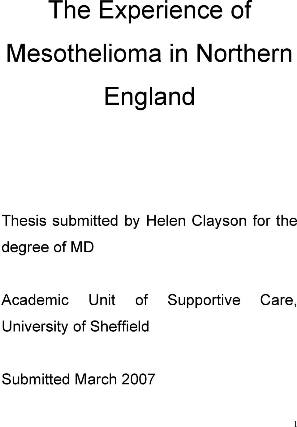 the degree of MD Academic Unit of Supportive