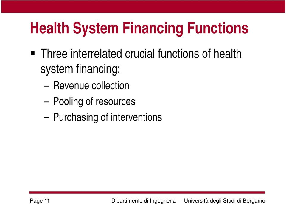 system financing: Revenue collection