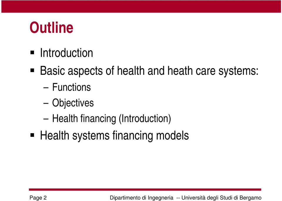 Functions Objectives Health financing
