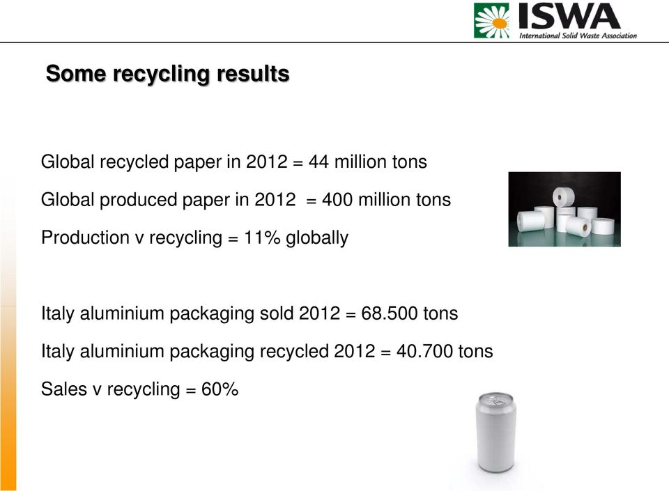 = 11% globally Italy aluminium packaging sold 2012 = 68.