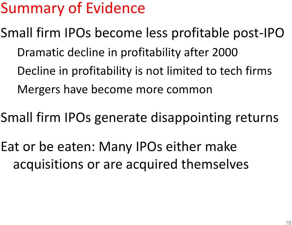 tech firms Mergers have become more common Small firm IPOs generate disappointing