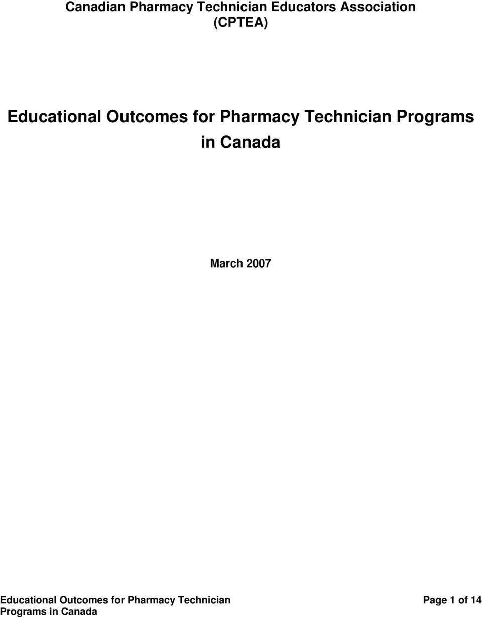 Pharmacy Technician Programs in Canada March