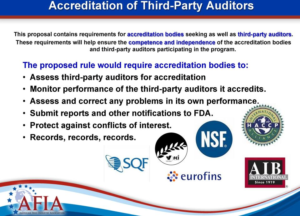 The proposed rule would require accreditation bodies to: Assess third-party auditors for accreditation Monitor performance of the third-party auditors it
