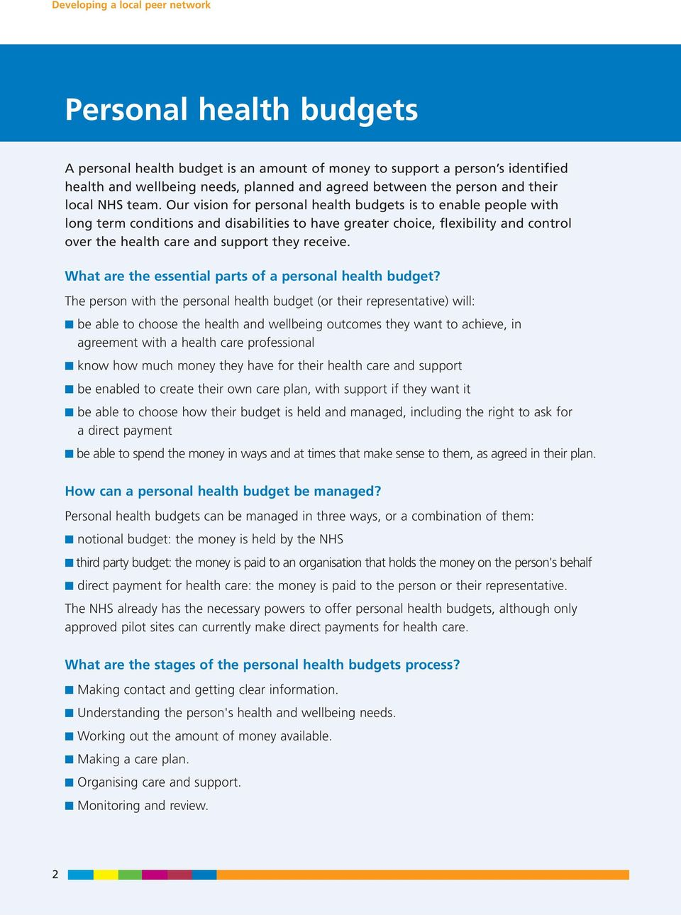 What are the essential parts of a personal health budget?