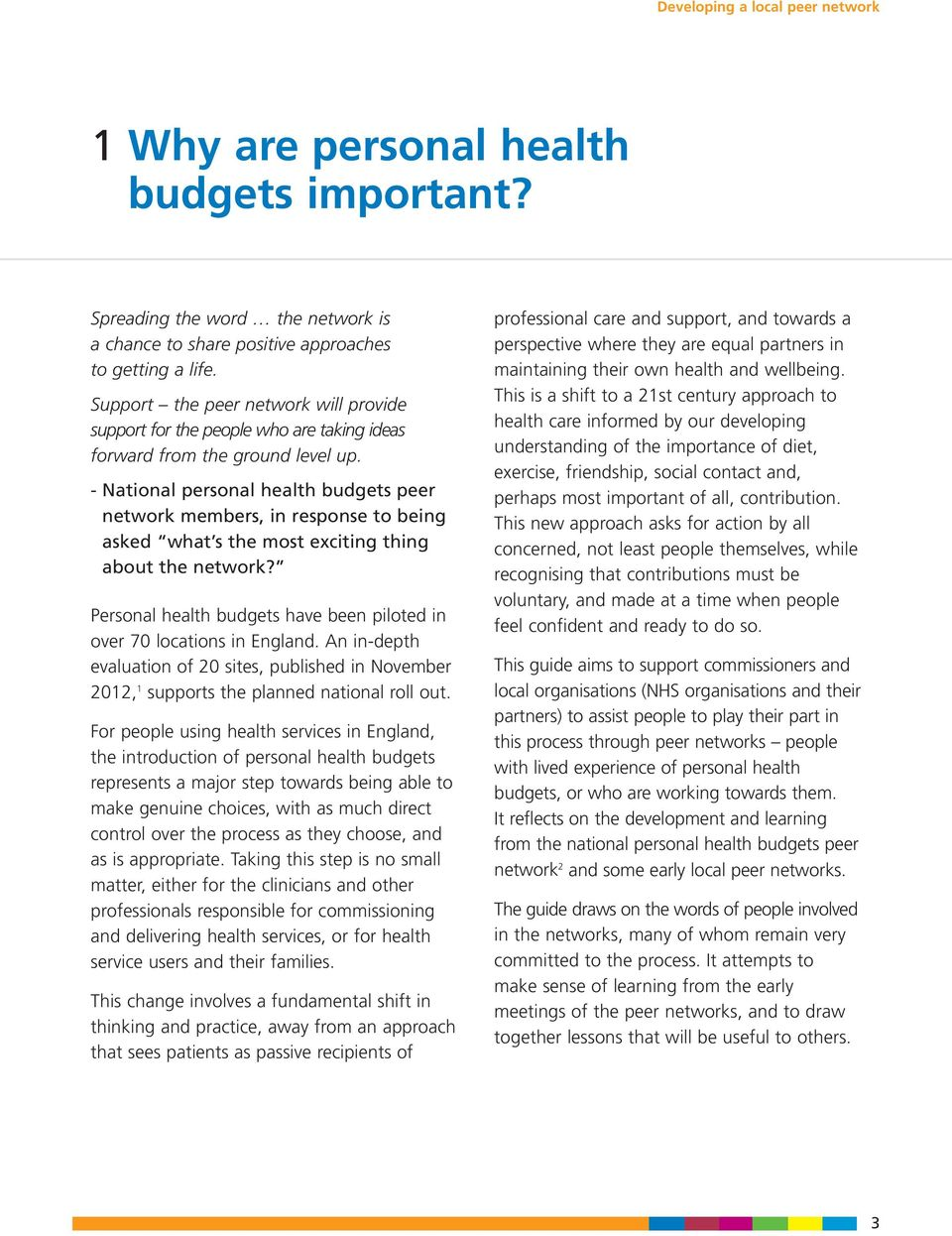 - National personal health budgets peer network members, in response to being asked what s the most exciting thing about the network?