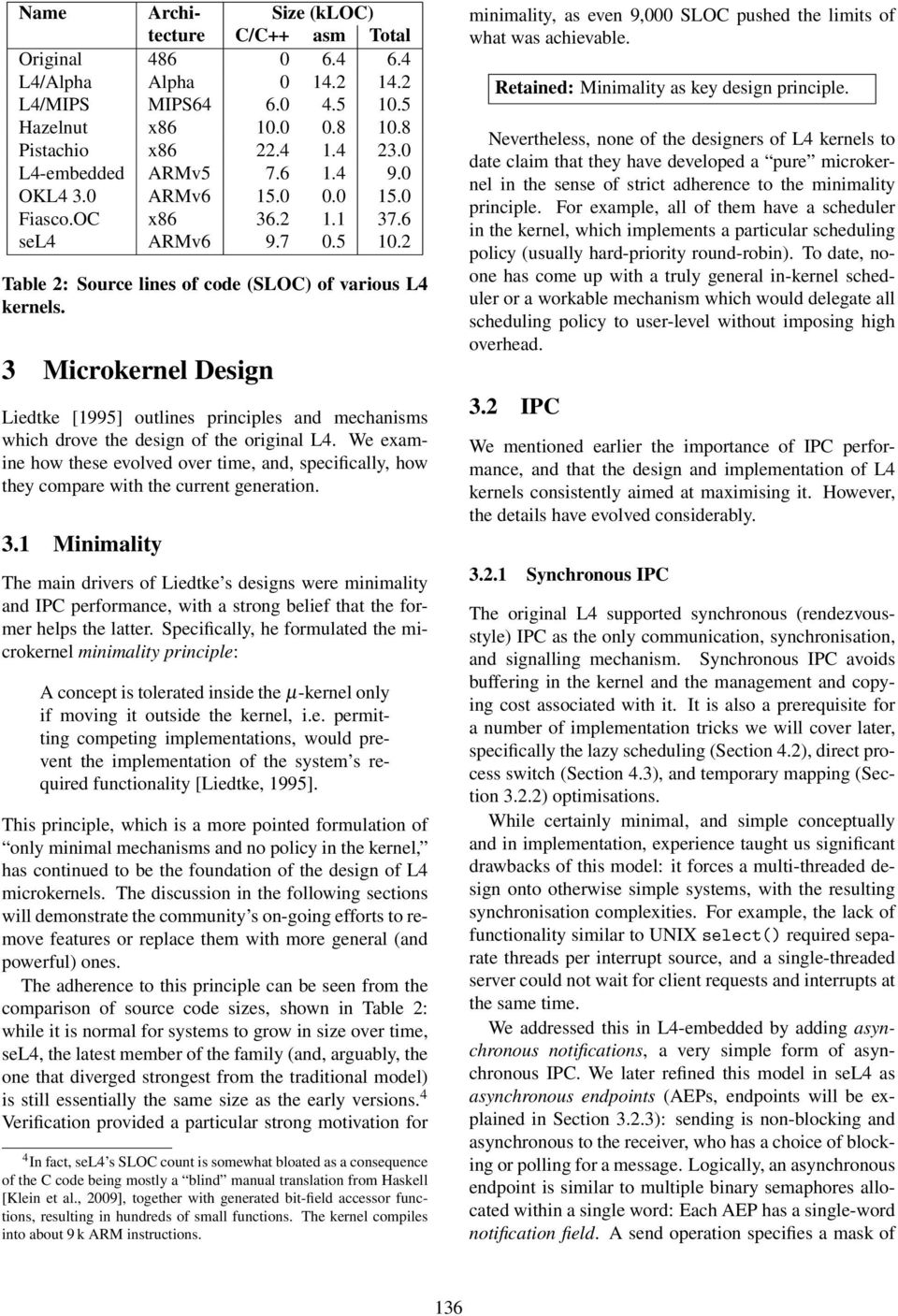 3 Microkernel Design Liedtke [1995] outlines principles and mechanisms which drove the design of the original L4.