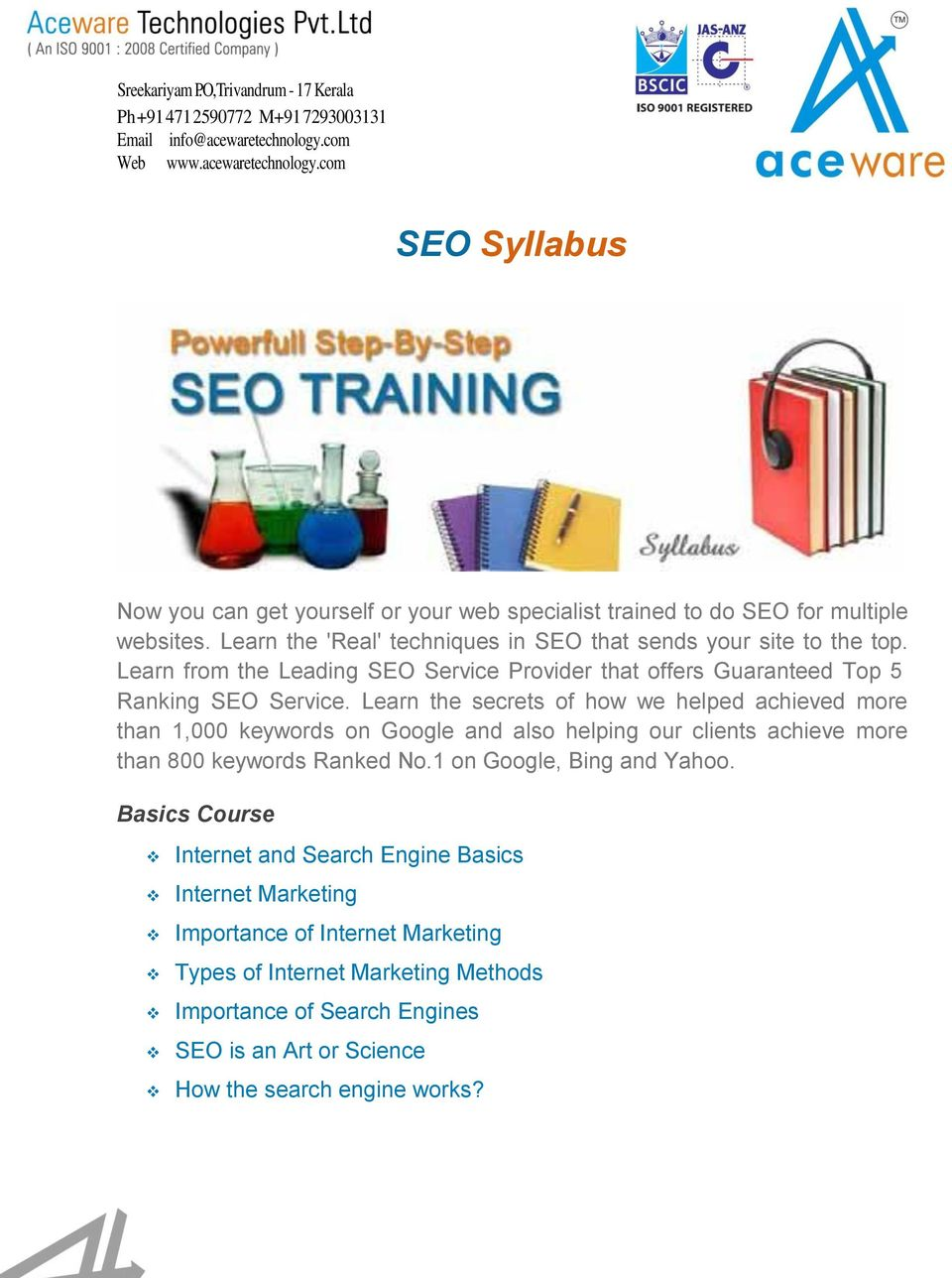 Learn the 'Real' techniques in SEO that sends your site to the top. Learn from the Leading SEO Service Provider that offers Guaranteed Top 5 Ranking SEO Service.