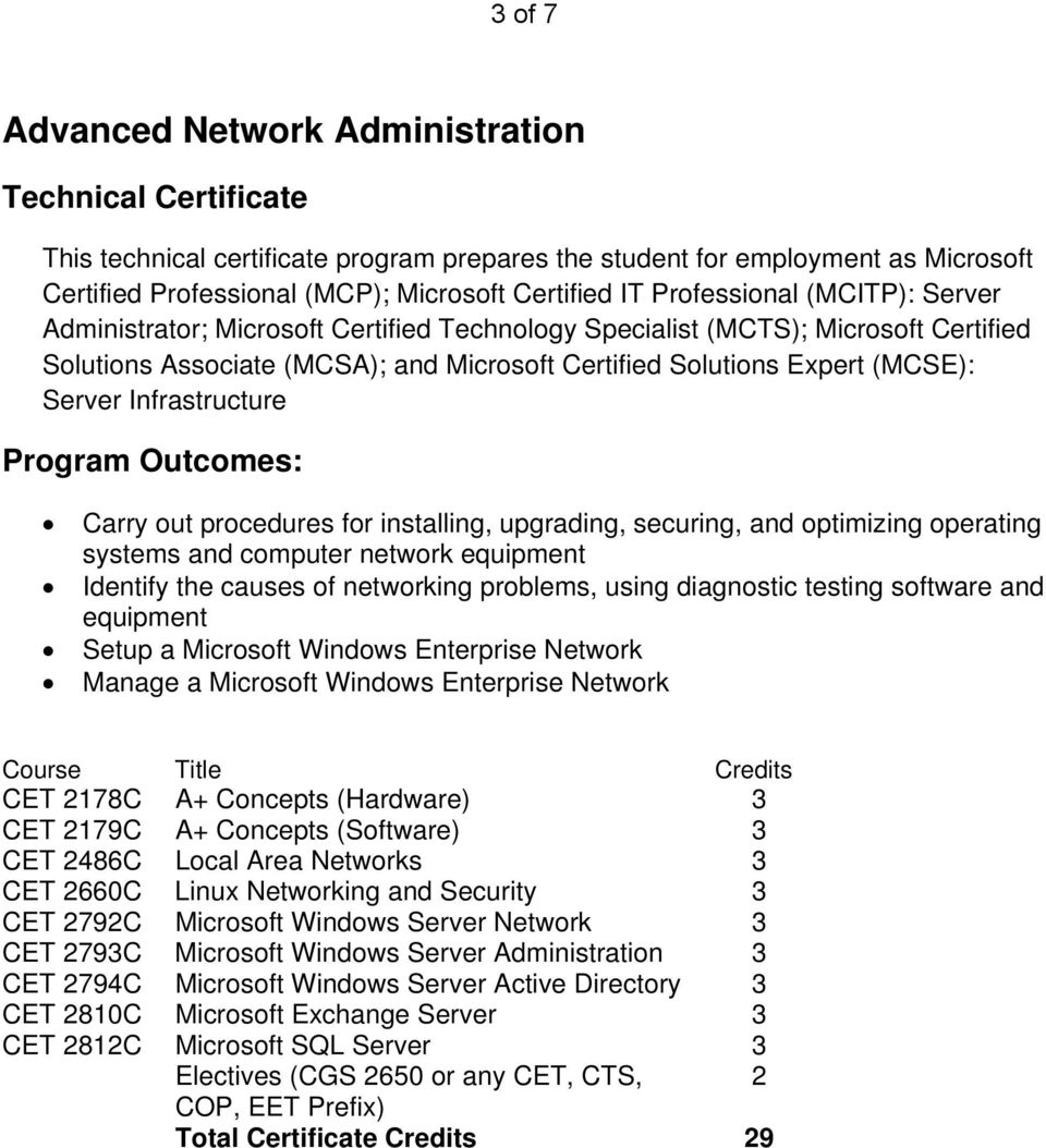 Infrastructure systems and computer network Setup a Microsoft Windows Enterprise Network Manage a Microsoft Windows Enterprise Network CET 2793C Microsoft Windows Server Administration 3 CET