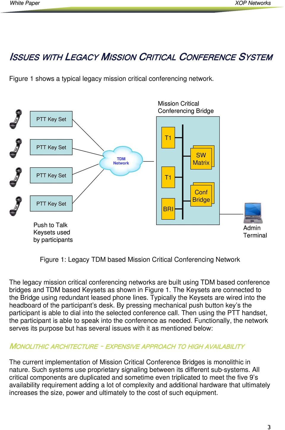 Terminal Figure 1: Legacy TDM based Mission Critical Conferencing Network The legacy mission critical conferencing networks are built using TDM based conference bridges and TDM based Keysets as shown