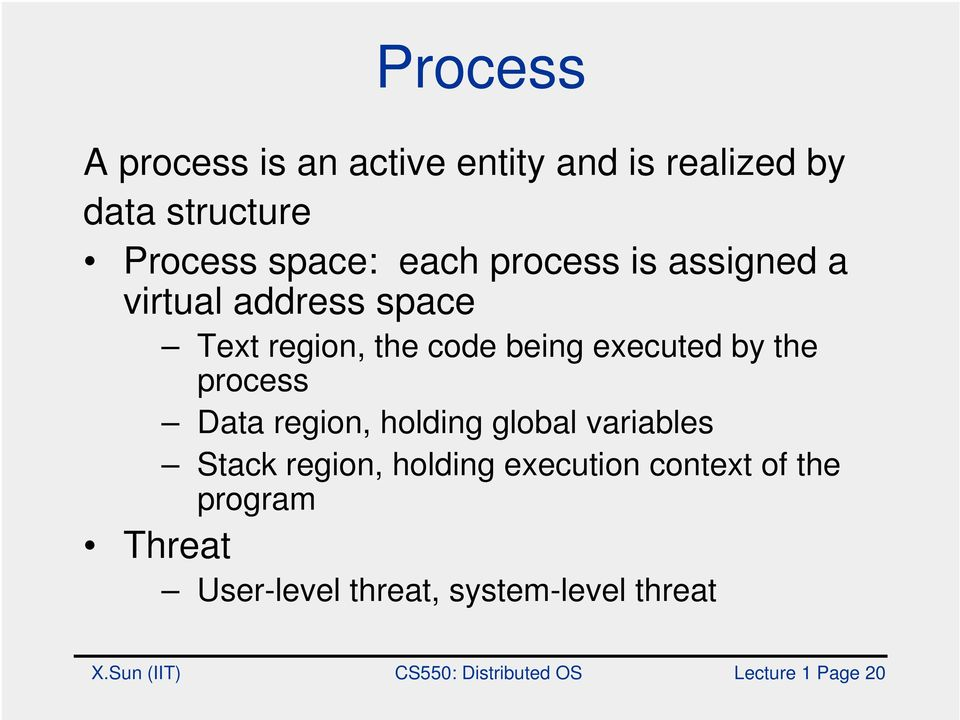 process Data region, holding global variables Stack region, holding execution context of