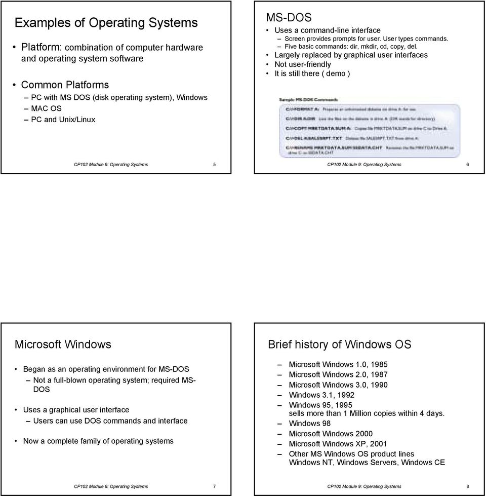 Largely replaced by graphical user interfaces Not user-friendly It is still there ( demo ) CP102 Module 9: Operating Systems 5 CP102 Module 9: Operating Systems 6 Microsoft Windows Began as an