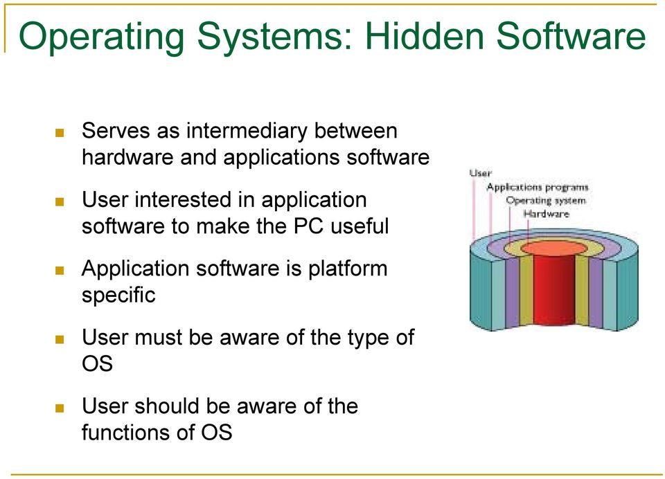 software to make the PC useful Application software is platform
