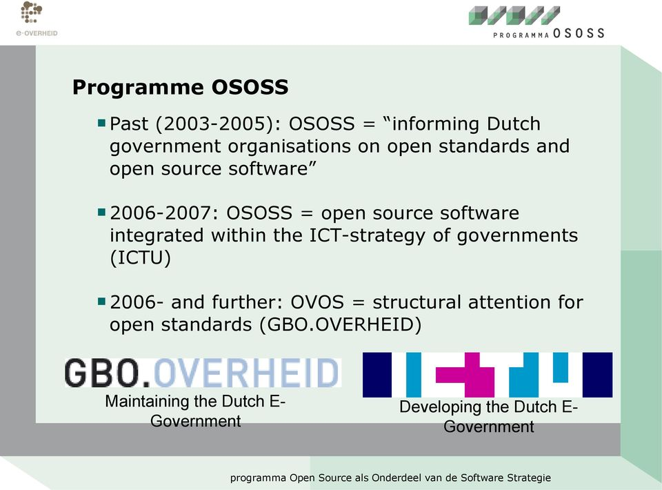 the ICT-strategy of governments (ICTU) 2006- and further: OVOS = structural attention for
