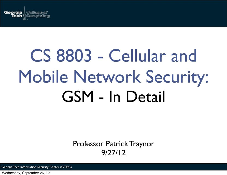 GSM - In Detail