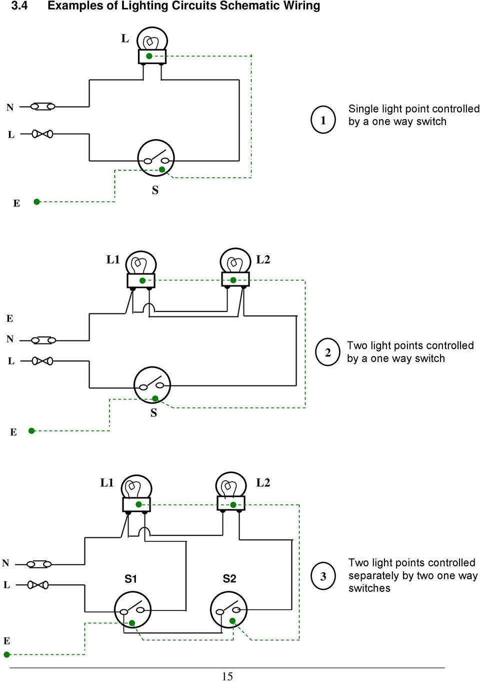 Guidelines for electrical wiring in residential buildings pdf light points controlled by a one way switch e s l1 l2 n l s1 s2 3 greentooth Images