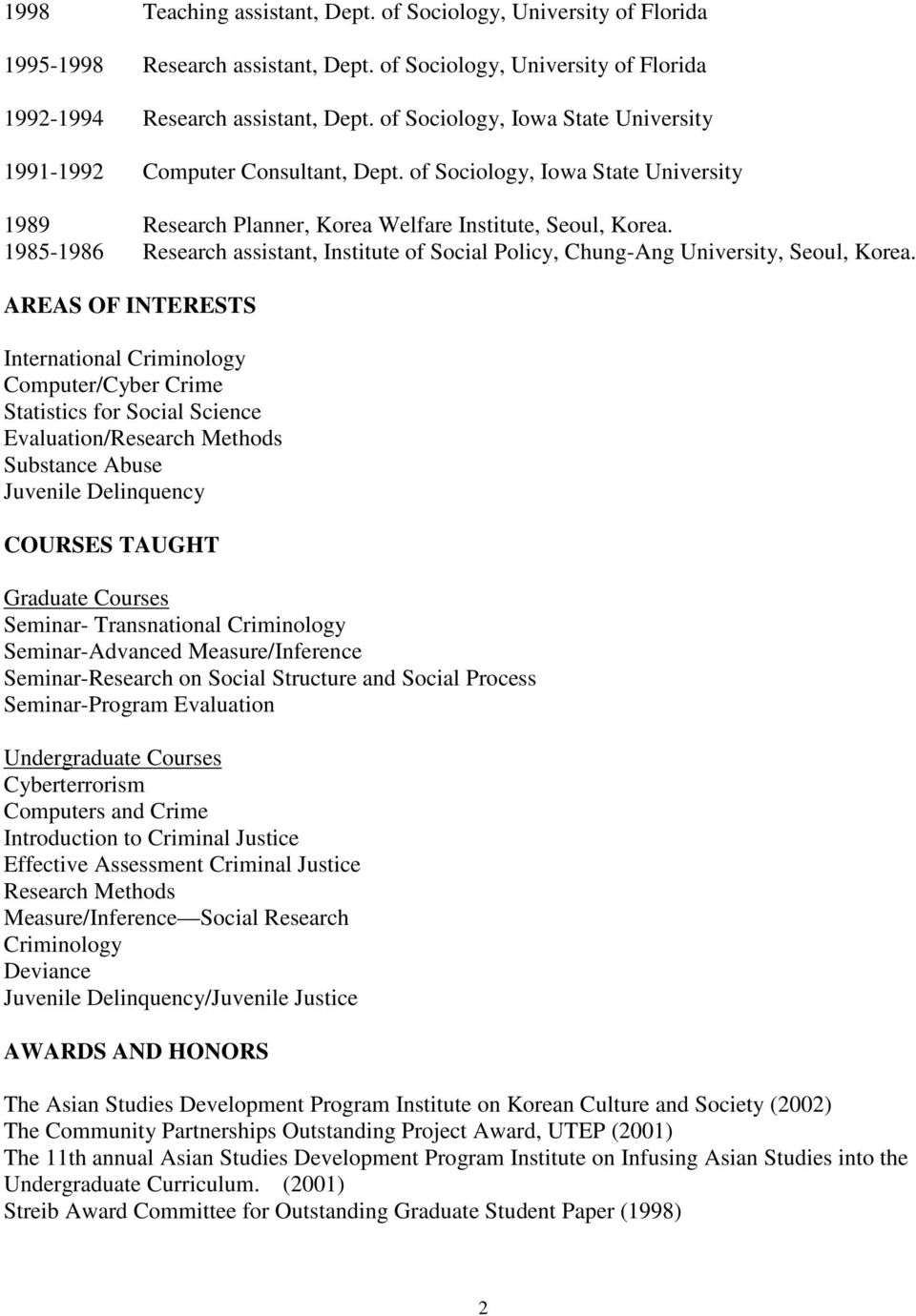 1985-1986 Research assistant, Institute of Social Policy, Chung-Ang University, Seoul, Korea.