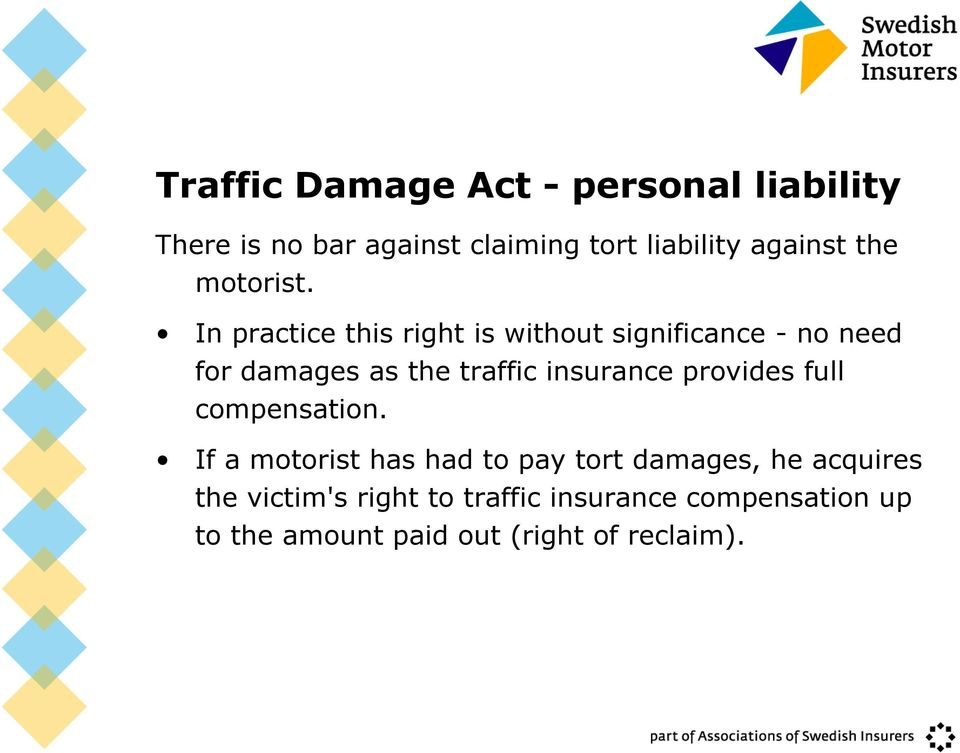 In practice this right is without significance - no need for damages as the traffic insurance