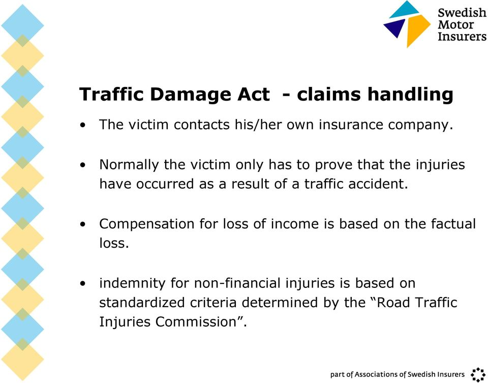 accident. Compensation for loss of income is based on the factual loss.