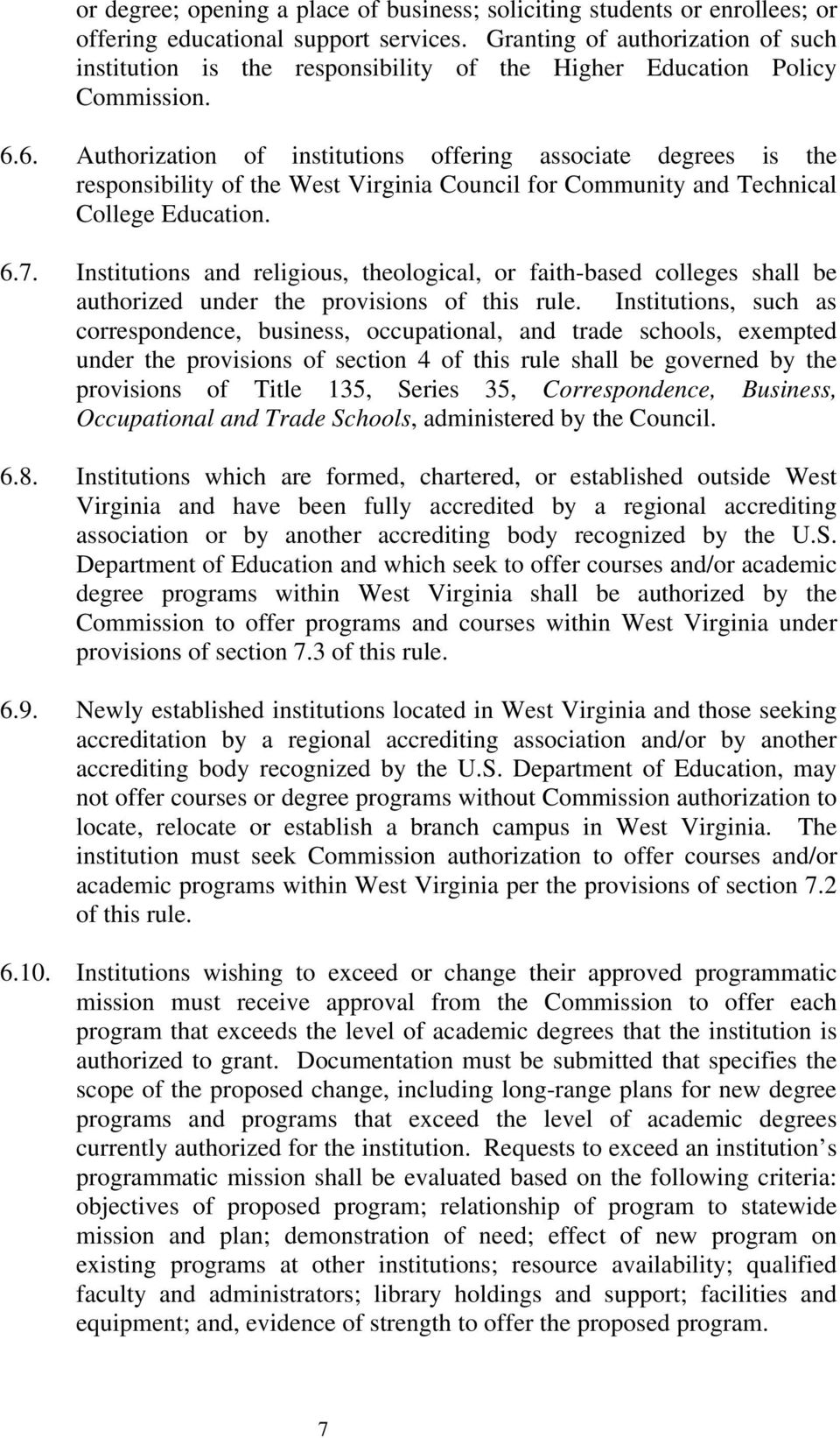 6. Authorization of institutions offering associate degrees is the responsibility of the West Virginia Council for Community and Technical College Education. 6.7.