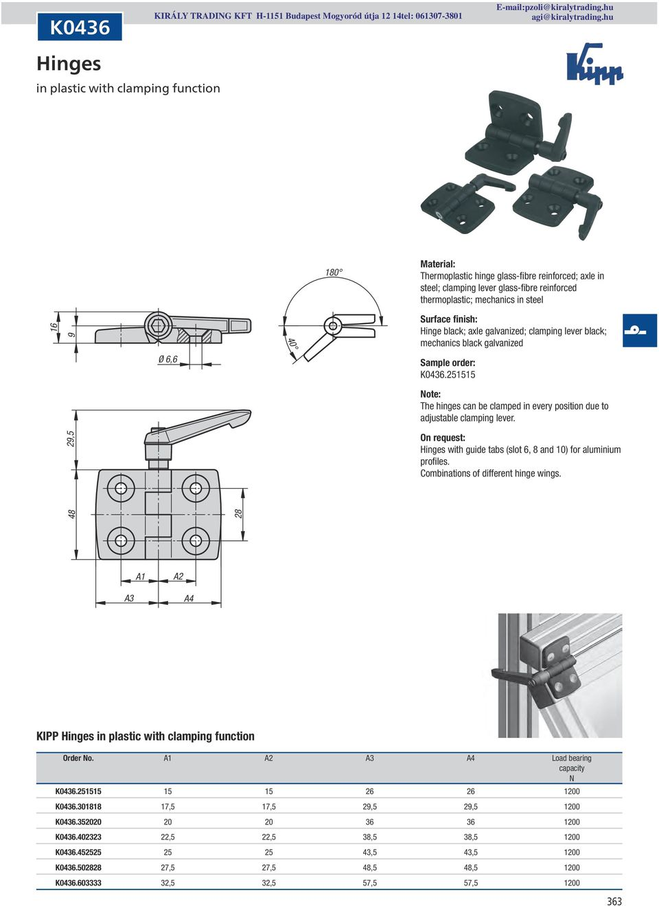 29,5 On request: with guide tabs (slot 6, 8 and 10) for aluminium profiles. Combinations of different hinge wings. 48 28 A1 A2 A3 A4 KIPP in plastic with clamping function Order No.