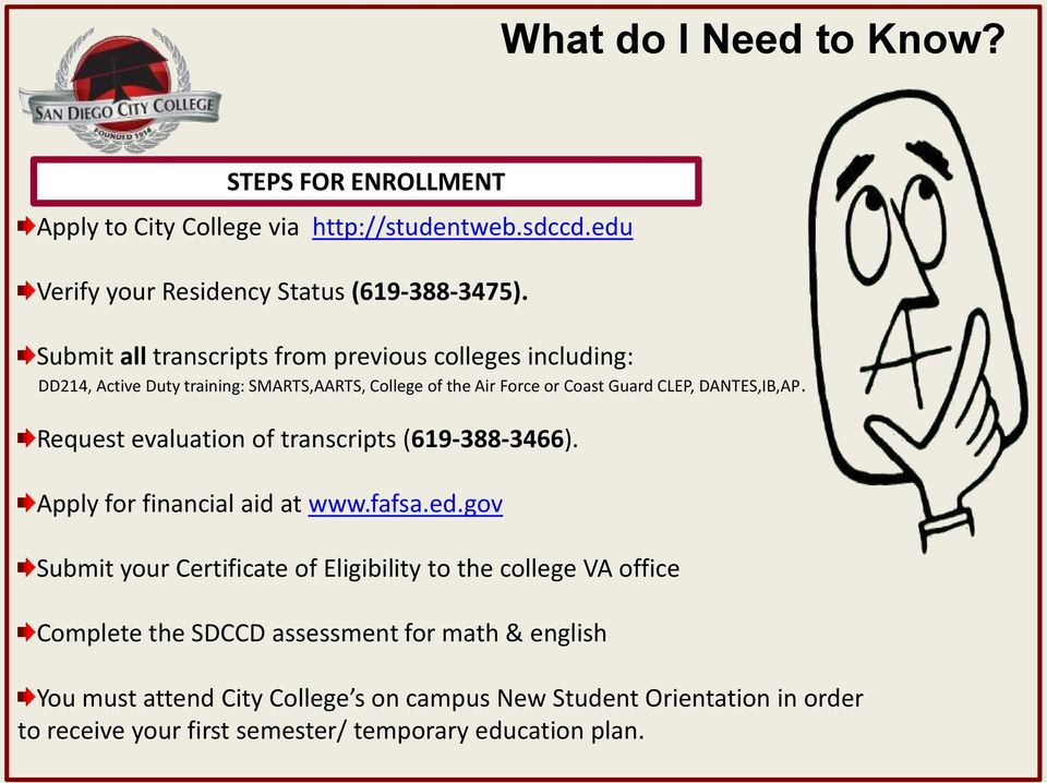 DANTES,IB,AP. Request evaluation of transcripts (619-388-3466). Apply for financial aid at www.fafsa.ed.