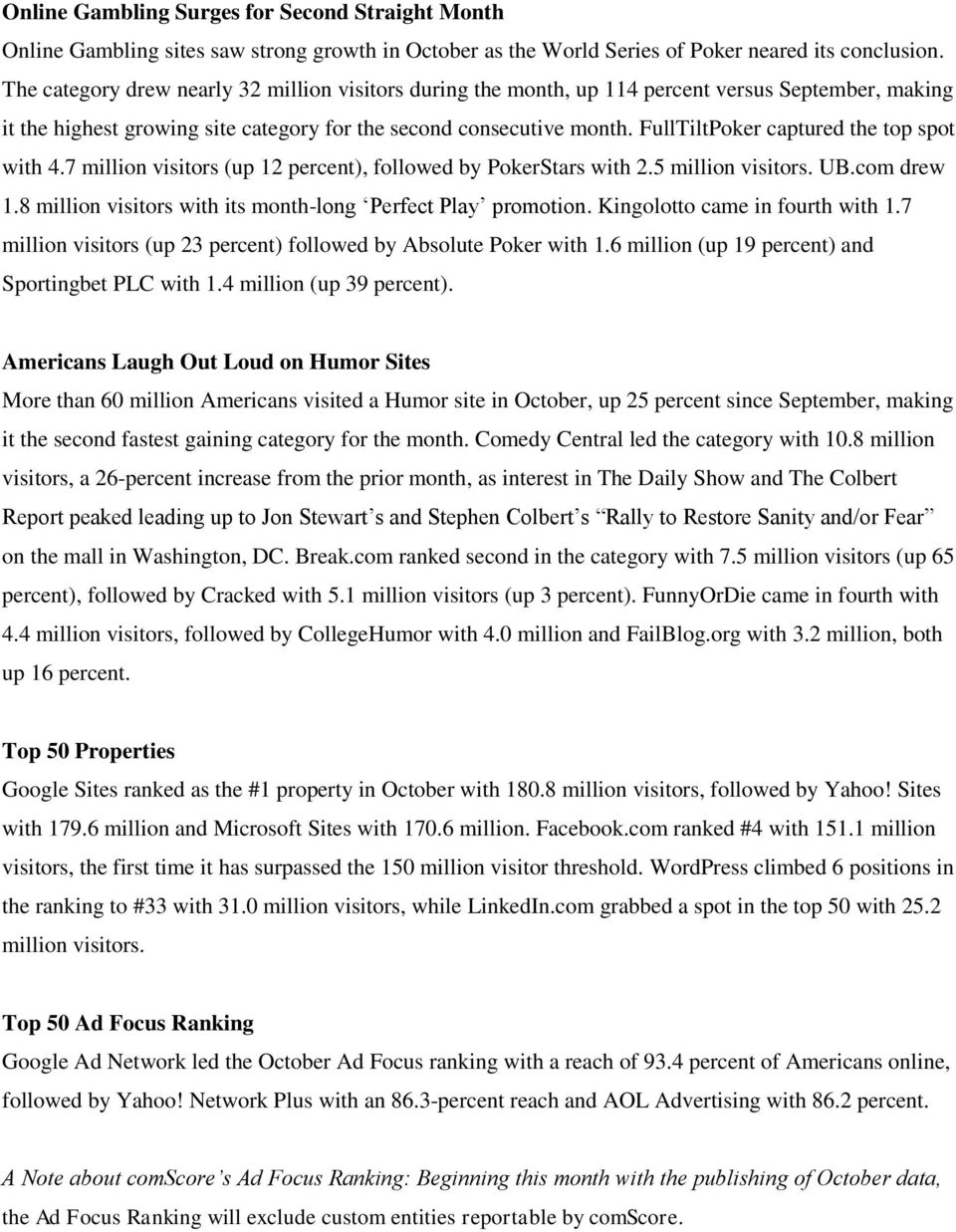 FullTiltPoker captured the top spot with 4.7 million visitors (up 12 percent), followed by PokerStars with 2.5 million visitors. UB.com drew 1.