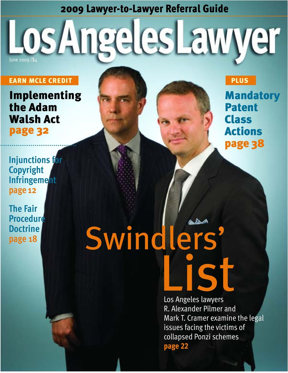 PLUS Mandatory Patent Class Actions page 38 Swindlers List Los Angeles lawyers R.